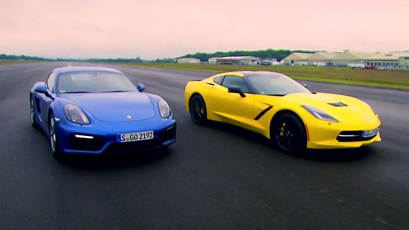 Ciekawy pojedynek w Top Gear - Porsche Cayman vs Chevrolet Corvette