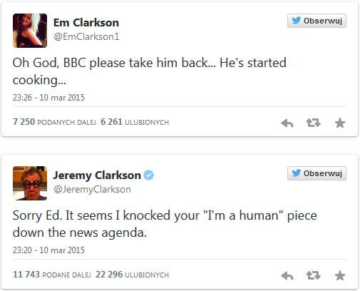 Jeremy Clarkson oraz jego córka - wypowiedzi na Twitterze