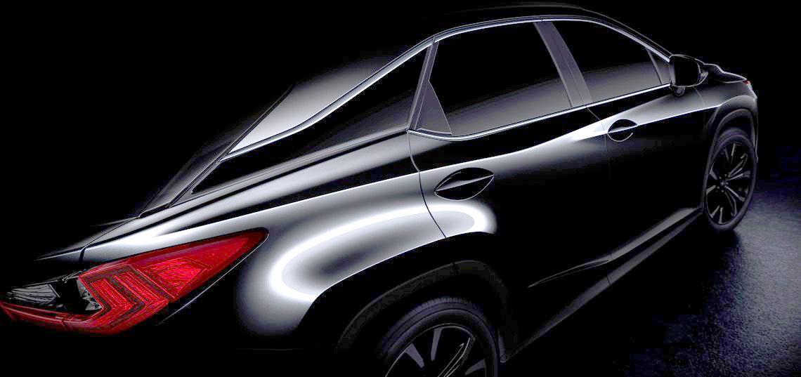 Rozjaśnione zdjęcie przedstawiające zapowiedź Lexusa RX (2016)