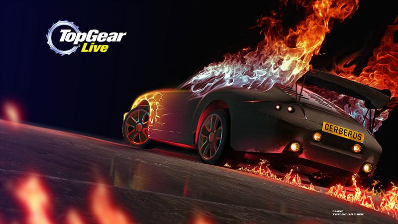 Płonące samochody to jedna z większych atrakcji Top Gear Live