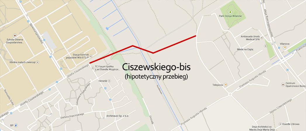 Hipotetyczny przebieg ulicy Ciszewskiego