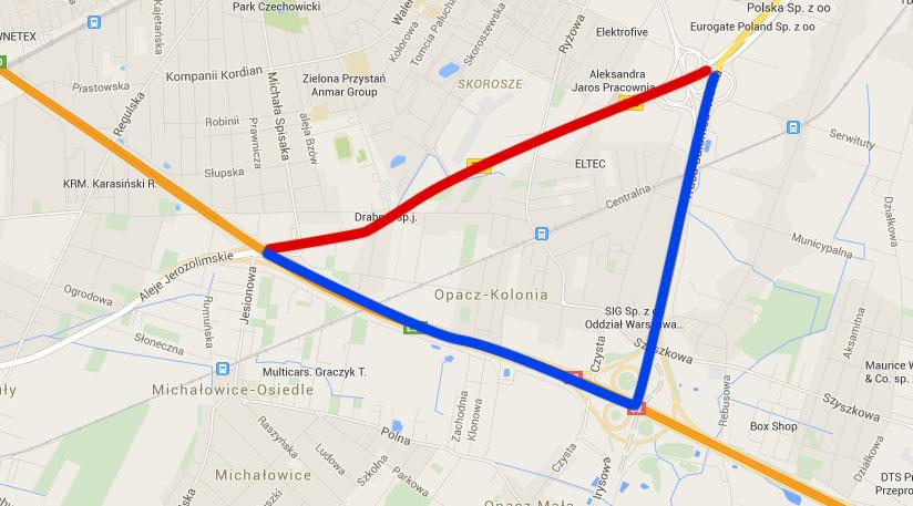 Trasa Salomea-Wolica - mapa