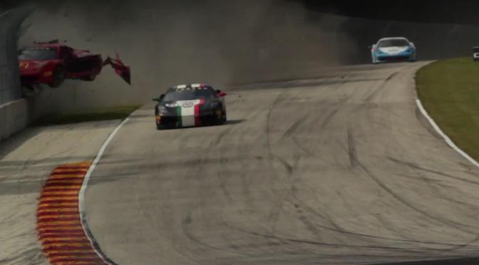 Wypadek Ferrari na torze – wideo z kilku kamer pokazuje potężne uderzenie