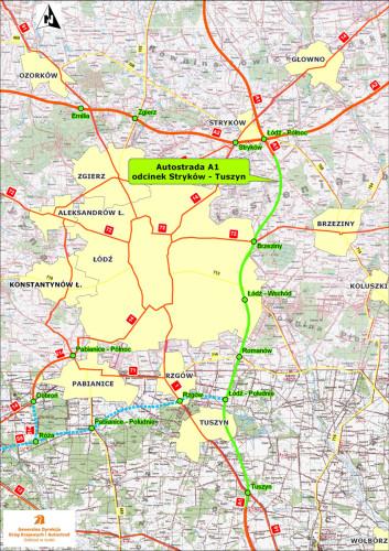 A1 Stryków - Tuszyn - mapa