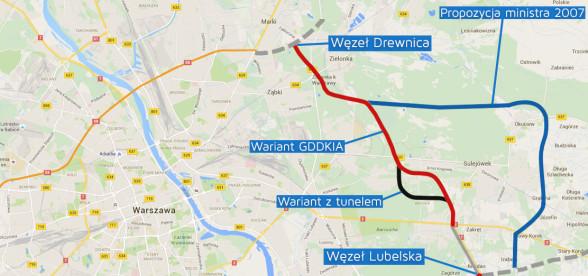 Wschodnia Obwodnica Warszawy - mapa