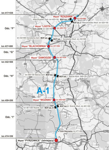 Autostrada A1 - Częstochowa-Pyrzowice - mapa