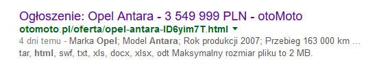Opel Antara w wynikach wyszukiwania Google