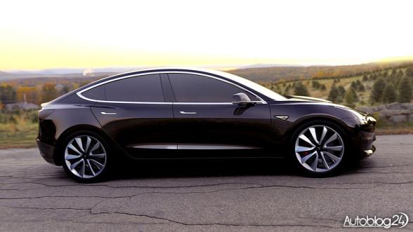 Tesla Model 3 - bok. Linia typu sportback