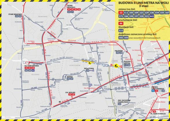 Metro Wola - zmiany w komunikacji miejskiej na czas budowy