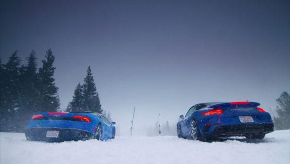 Lamborghini vs Porsche w zimie