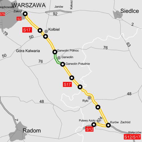 S17 pomiędzy węzłami Lubelska-Kurów - mapa